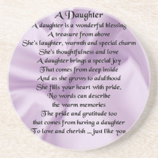 Daughter Poem - Lilac Silk Drink Coaster