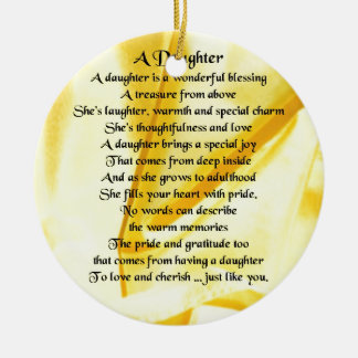 Daughter Poem - Yellow Silk Ceramic Ornament