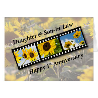 Daughter & Son-in-Law 1st Wedding Anniversary Sunf Greeting Card