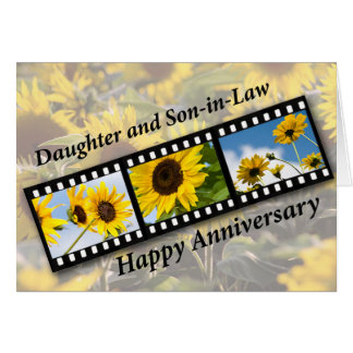 Daughter & Son-in-Law, Anniversary Sunflower Fil Card
