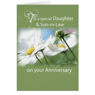 Daughter & Son-in-Law, Anniversary White Flowers Greeting Card