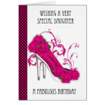 Daughter Trendy Shoe And Rose Birthday Greeting Ca