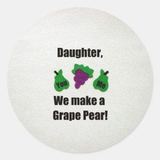 Daughter, we make a grape pear! sticker