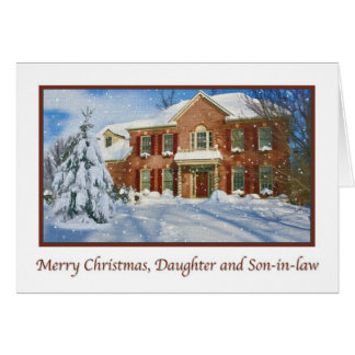 Daughter's Christmas, Snowy Home Scene Card