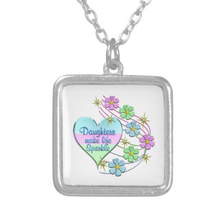 Daughters Make Life Sparkle Silver Plated Necklace