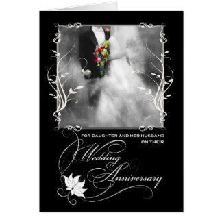 Daughter's Wedding Anniversary Black and White Greeting Card