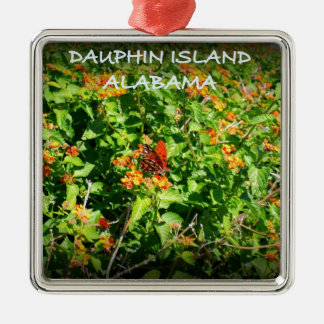 DAUPHIN ISLAND, ALABAMA Silver-Colored SQUARE ORNAMENT