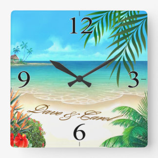 Dave Exotic Beach ASK 4 YOUR NAMES IN SAND Wall Clocks