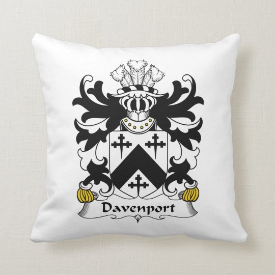 Davenport Family Crest Throw Pillow