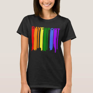 Davenport Iowa Gay Pride Rainbow Skyline T-Shirt