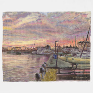 Davenport Iowa, Mississippi River Bridges Sunset Fleece Blanket