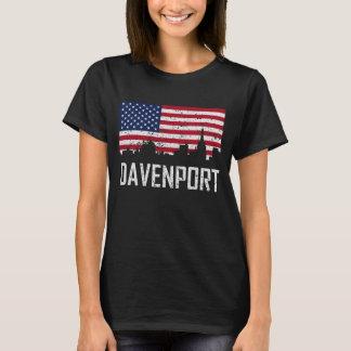 Davenport Iowa Skyline American Flag Distressed T-Shirt