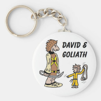 David and Goliath Basic Round Button Keychain