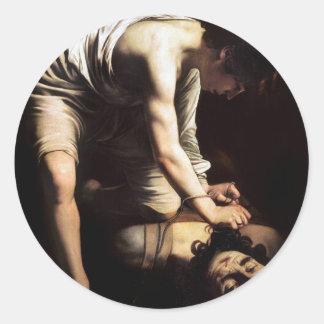David and Goliath by Caravaggio Round Sticker
