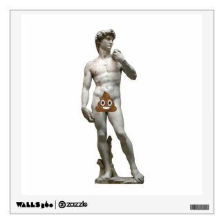 David by Michalangelo with Happy Poop Wall Sticker
