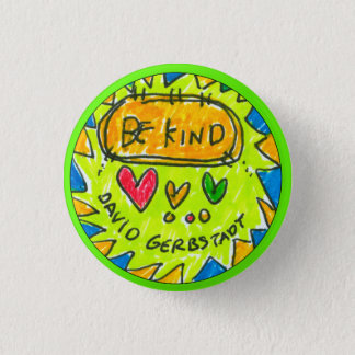david gerbstadt, be kind, button, 3 hearts, 1 inch round button