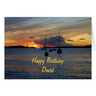David Happy Birthday Sailboats at Sunset Card