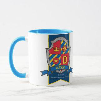 David knight shield red blue name meaning mug