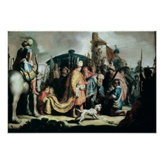 David Offering the Head of Goliath to King Saul Poster