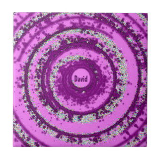 ~ DAVID ~ Personalised Spun Purple Design ~ Tile