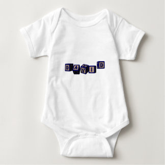 David toy blocks in blue. baby bodysuit