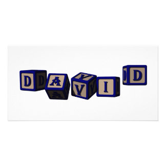David toy blocks in blue. photo cards