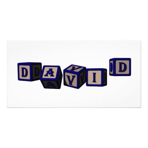 David toy blocks in blue. photo cards
