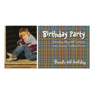 David's Birthday Party Photo | Scottish plaid Card