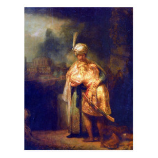 Davids farewell with Jonathan by Rembrandt Postcard