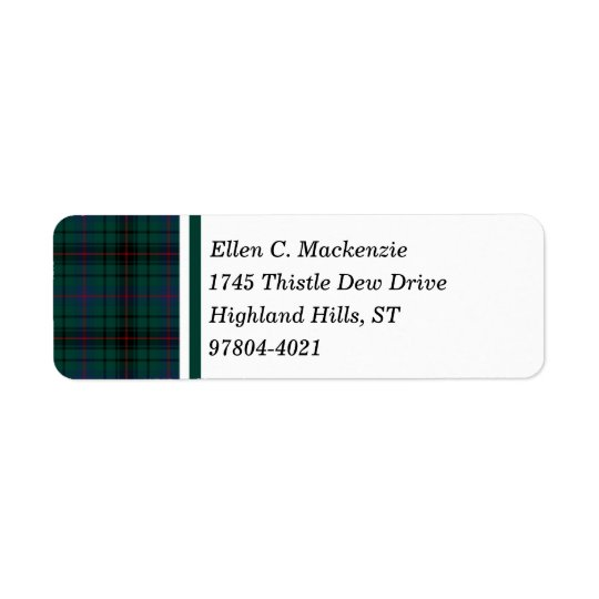 Davidson Clan Dark Green Scottish Tartan Return Address Label