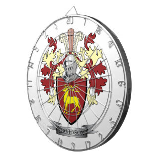 Davidson Family Crest Coat of Arms Dartboard