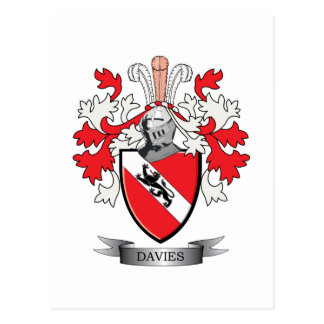 Davies Family Crest Coat of Arms Postcard