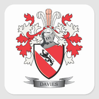 Davies Family Crest Coat of Arms Square Sticker