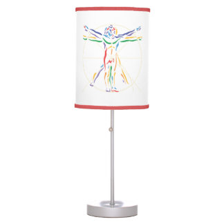 DaVinci Anatomy Man in Chakra Colors Table Lamps