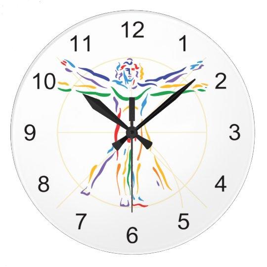 DaVinci Anatomy Man in Chakra Colours Large Clock
