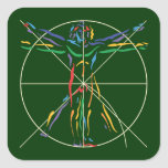 DaVinci Anatomy Man in Chakra Colours Square Sticker