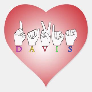 DAVIS ASL FINGERSPELLED NAME SIGN HEART STICKER