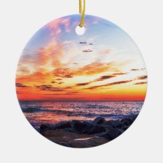 Dawn at 120th Street in Ocean City Maryland Ceramic Ornament
