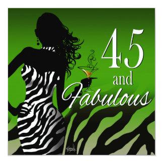 Dawn ::CUSTOM:: Bombshell Zebra 45th Birthday Card