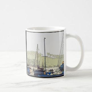 Dawn Harbor Sailboats Art Mug