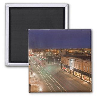 Dawn on Main Street of Bismarck, North Dakota Square Magnet