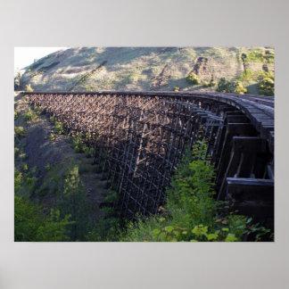 Dawn Sun, Bridge 22, Camas Prairie Railroad Poster