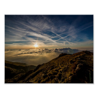 Dawn Sun Mountain Landscape Poster
