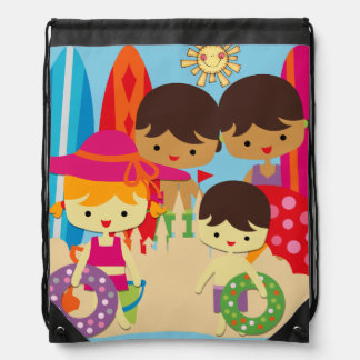 Day at the Beach Drawstring Backpack Bag