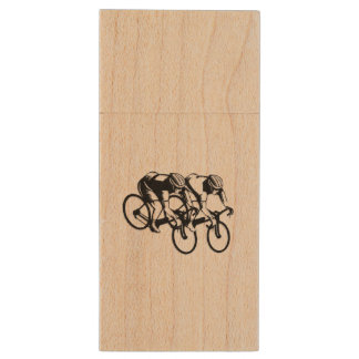 Day Bicycle Race Wood USB Flash Drive