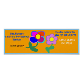 'Day Care Services Here' Poster Sign. Customizable