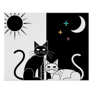 Day Cat Night Cat Poster