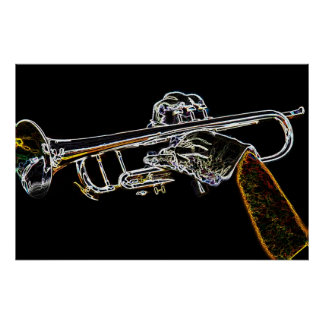 Day Glow Trumpet Poster