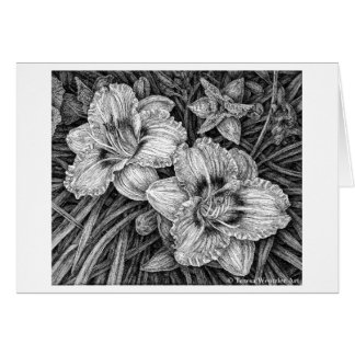Day Lilies Pen and Ink Drawing Card