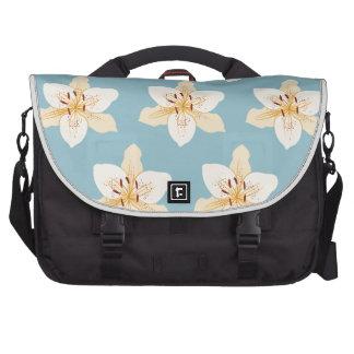 Day Lily Illustrative Big Ptn on Light Blue Laptop Commuter Bag